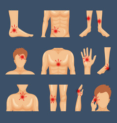 Physical injury body parts shoulders trauma pain vector