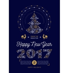 Poster happy new year 2017 party flyer christmas vector