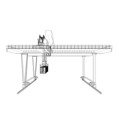 Rail-mounted gantry container crane outline vector