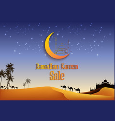ramadan kareem sale with camels at desert vector image