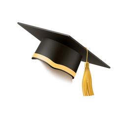 realistic mortar board hat education hat vector image