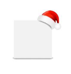 Santa claus cap with paper banner vector