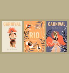 Set banners for carnival in rio de janeiro vector