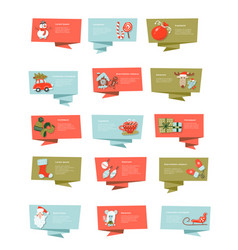 set christmas ribbon banners flat vector image
