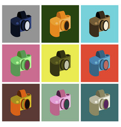 Set icons in flat design camera vector