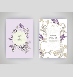 Set of card with flower lavender leaves wedding vector