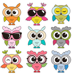 Set of cool colorfull owls isolated on white vector