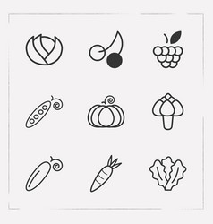 set of dessert icons line style symbols with vector image