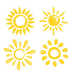 set of sun four painted solar symbols vector image