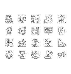 set startup line icons megaphone trophy vector image