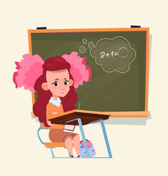 Small school girl sit at desk over class board vector