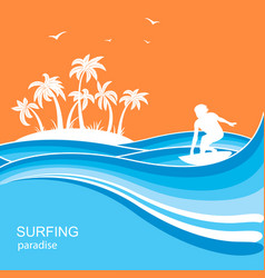 surfer and sea waves backgroundsummer nature vector image
