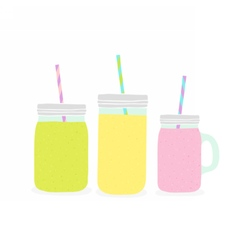 Three different jars with smoothie vector