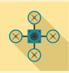 top blue drone icon flat style vector image