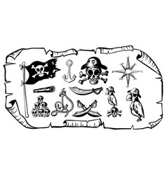 Treasure map with many pirate symbols vector