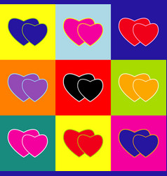 two hearts sign pop-art style colorful vector image