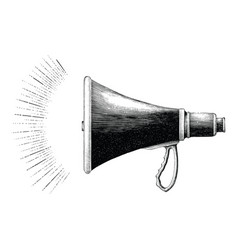 Vintage megaphone hand drawing engraving style vector