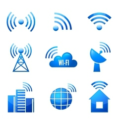 Wi-Fi glossy icons set vector