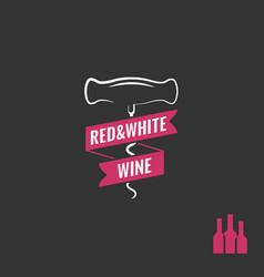 wine corkscrew logo bottles with screw vector image