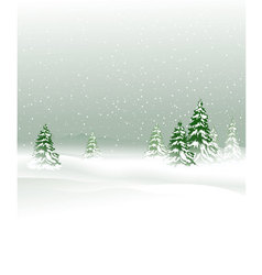 Winter landscape with Christmas trees vector