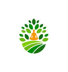Yoga farm logo icon design vector
