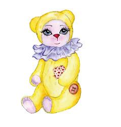 Bear yellow painted watercolor vector