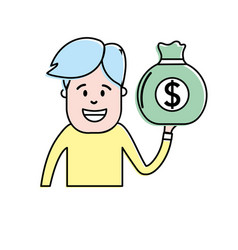 man with bag cash money in the hand vector image vector image