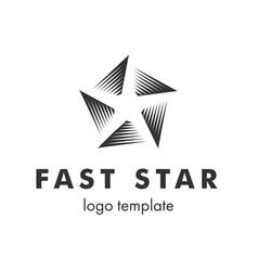 stylized linear shape star logo design template vector image