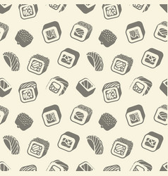sushi and rolls vintage seamless pattern on a vector image