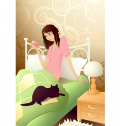 young girl in the morning vector image vector image