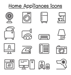 appliance icon set in thin line style vector image vector image