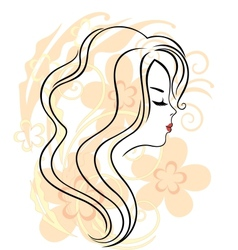 Beautiful girls face on the flower background vector image