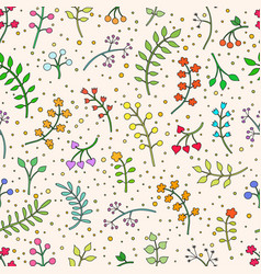 floral seamless pattern with leaves and vector image vector image