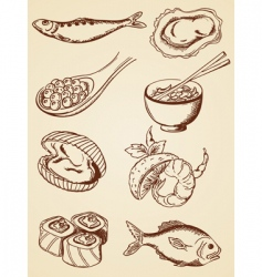 hand drawn vintage seafood vector image
