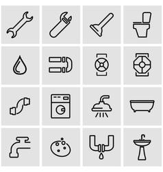 line plumbing icon set vector image vector image