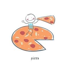 Man eats pizza vector image vector image