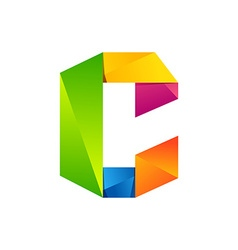 C letter one line colorful logo design template vector image