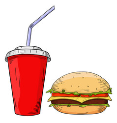 fast food set cheeseburger and drink in paper cup vector image
