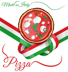 italian pizza on ribbon flag vector image