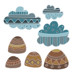 Winter clouds and rocks hand drawn set vector image