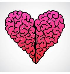 Doodle Brain Heart vector image vector image
