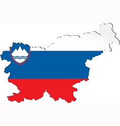 Map of Slovenia with national flag vector image vector image
