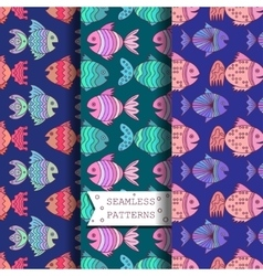 seamless pattern with sea fish vector image vector image