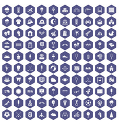 100 childrens playground icons hexagon purple vector
