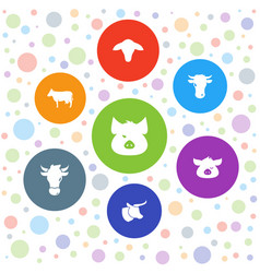 7 livestock icons vector