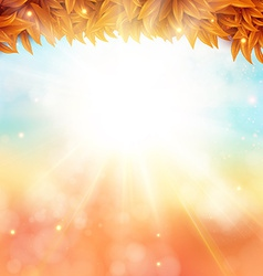 Abstract autumn poster with shining sun and vector image
