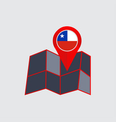 Abstract icon map chile with a country flag vector