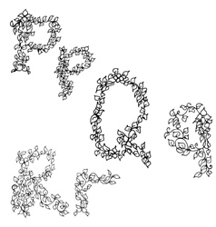 Alphabet in style of a sketch the letters P Q R vector image