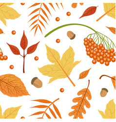 autumn leaves seamless pattern bright fall vector image