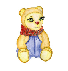bear painted in watercolor with scarf pants vector image vector image